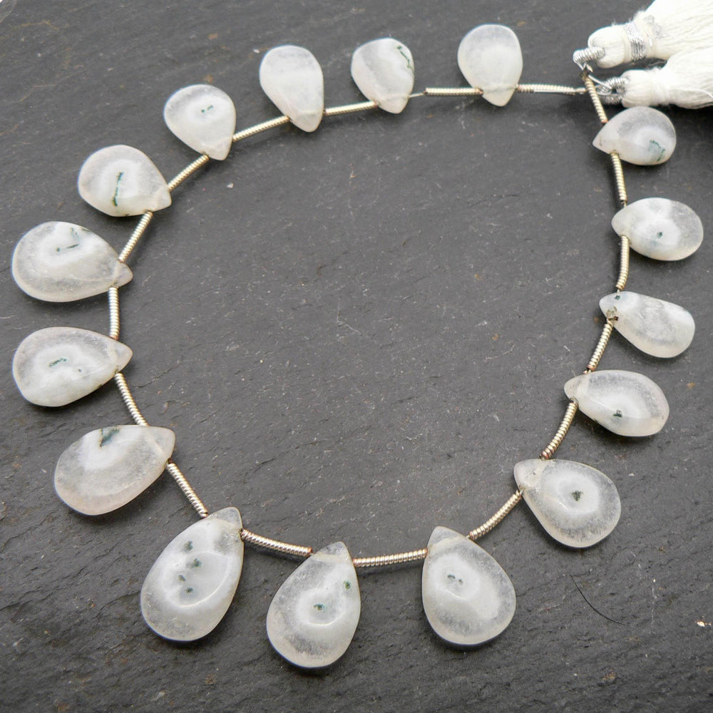 "Solar Quartz Plain Pear Briolette Beads 8"" Strand"