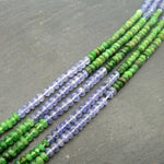 "Tanzanite & Tsavorite AA Grade Faceted Rondelle Beads 14.5"" Strand"