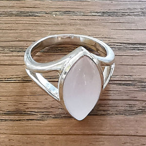 Rose Quartz Ring Sterling Silver Marquis Cut Stone Size N