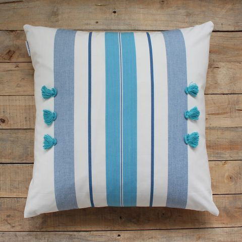 Biggie Best Beach Blue Tassel Cushion