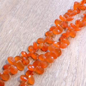Carnelian Faceted Pear Briolettes (Set of 5)