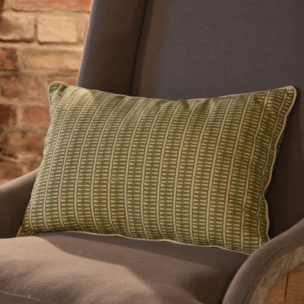 Grand Illusions Cushion Fiji Olive with Ecru Piping