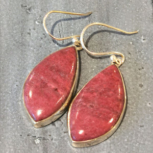 Pink Thulite Sterling Silver Earrings