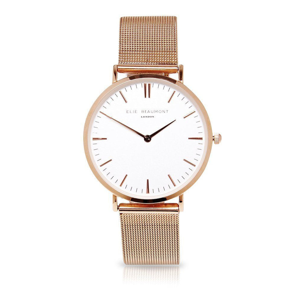 Elie Beaumont London Oxford Large Mesh Rosegold Watch