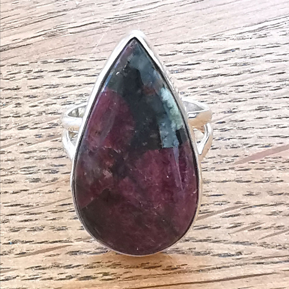 Eudialyte Ring Sterling Silver Teardrop Size P