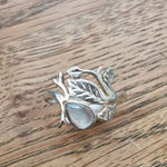 Labradorite Ring Sterling Silver with Foliage Size O