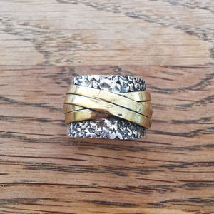 Sterling Silver Spinner Ring 22 Size P