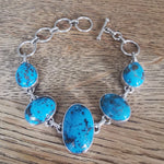 Copper Turquoise Oval Gemstone Sterling Silver Bracelet