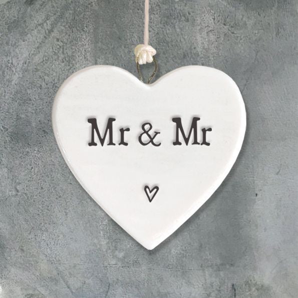 East of India Porcelain Heart - Mr & Mr