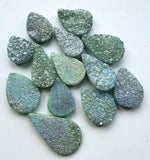 Green Druzy Large Faceted Pear Briolette Bead
