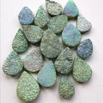 Green Druzy Faceted Pear Briolette Bead
