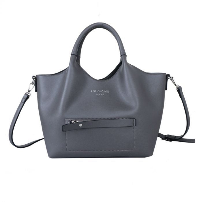 Red Cuckoo Grey Tote with Contrast Lining