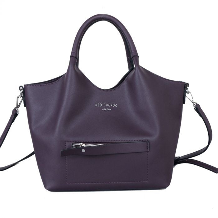 Red Cuckoo Purple Tote with Contrast Lining