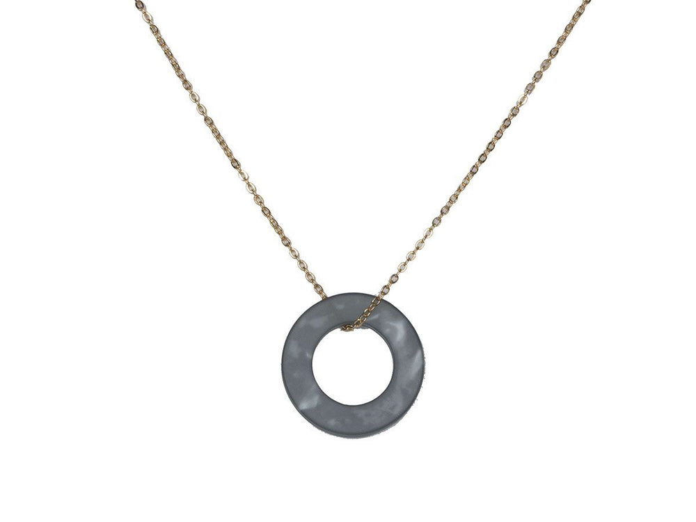Load image into Gallery viewer, Big Metal London Nina Grey/Blue Resin Circle Necklace