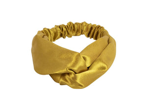 Big Metal London Harriett Yellow Soft Satin Knot Headband