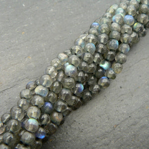 "Load image into Gallery viewer, Labradorite 3mm Round Beads 15"" Strand"