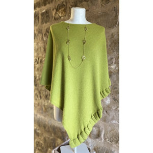 Park Lane Cashmere Blend Poncho in Fresh Lime