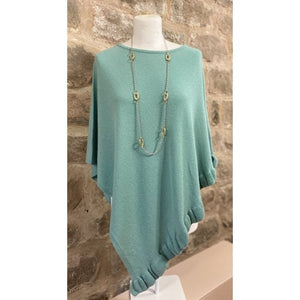 Park Lane Lara Cashmere Mix Poncho in Eau Denile