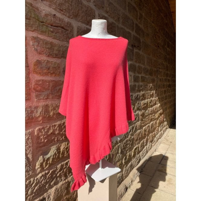 Park Lane Lara Cashmere Mix Poncho in Coral