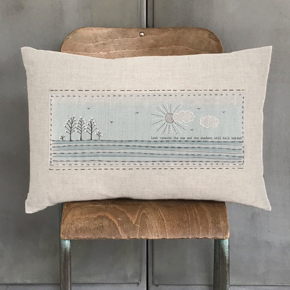 East of India Look Towards The Sun Embroidered Cushion