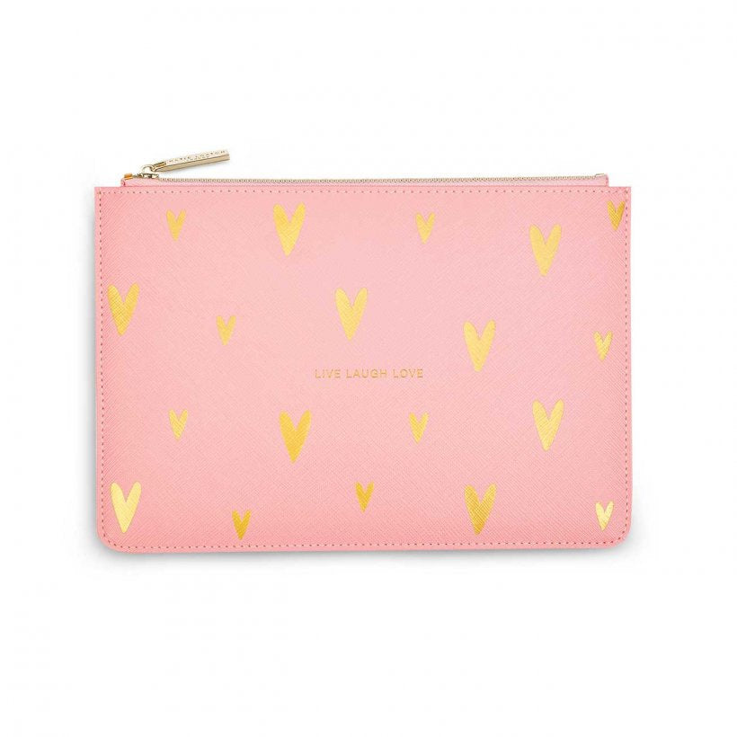 Katie Loxton Gold Print Perfect Pouch | Live Love Sparkle | Pink