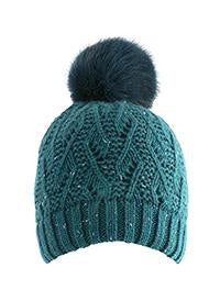 Dents Lace Knit Hat Petrol