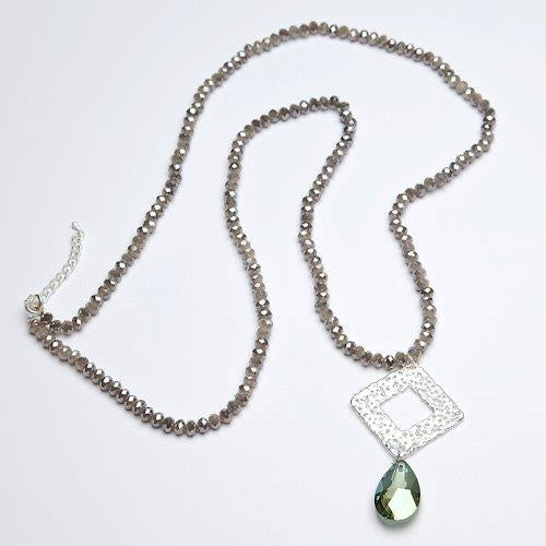 Eliza Gracious Beaded Square Pendant Necklace