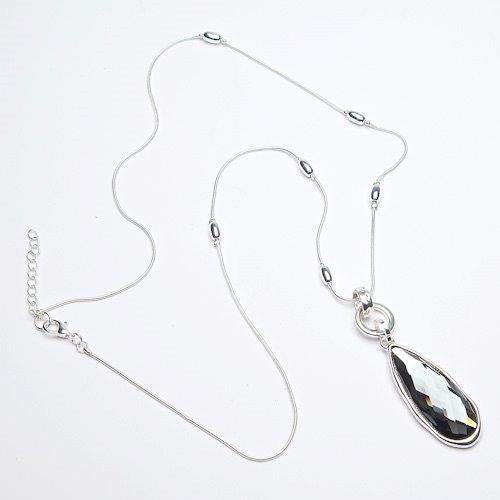 Eliza Gracious Large Smoky Teardrop Necklace