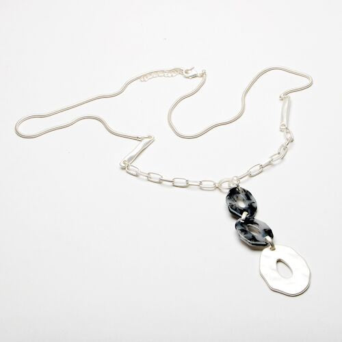 Eliza Gracious Resin & Silver Loop Pendant Necklace