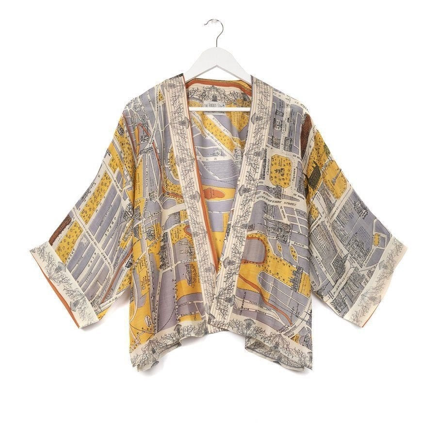 Load image into Gallery viewer, One Hundred Stars Edinburgh & Leith Map Kimono Short Jacket