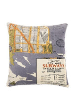 One Hundred Stars New York Map Print Cushion Cover