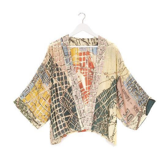 Load image into Gallery viewer, One Hundred Stars Barcelona Map Kimono Short Jacket