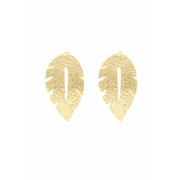 Load image into Gallery viewer, Ashiana London Laurel Leaf Earrings Gold