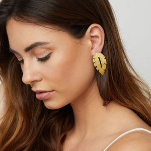 Ashiana London Laurel Leaf Earrings Gold