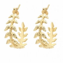 Load image into Gallery viewer, Ashiana London Olympia Leaf Hoop Earrings