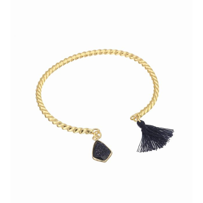 Ashiana London Flamenco Tassel Bangle Blue Goldstone