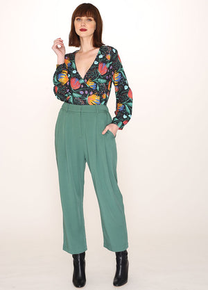 Pepaloves Tencel Tailored Trousers in Green