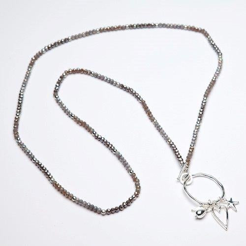 Eliza Gracious Multi Shaded Bead Necklace with Charms