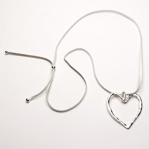 Eliza Gracious Large Silver Heart Necklace