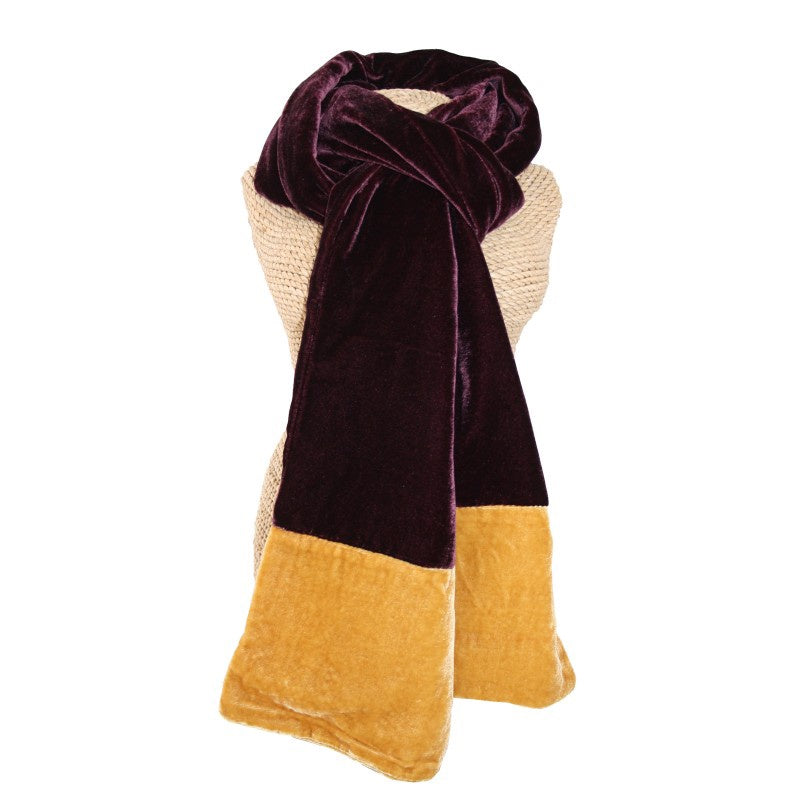 Lua Velvet Scarf in Fig and Mustard