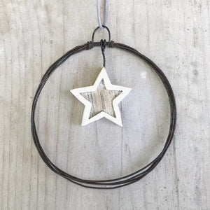East of India Sml Hanging Metal Wreath-Star