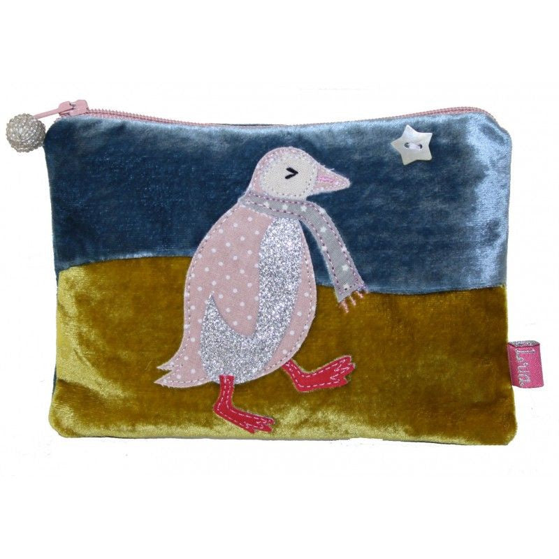 Lua Penguin Applique Velvet Coin Purse Blue/Mustard