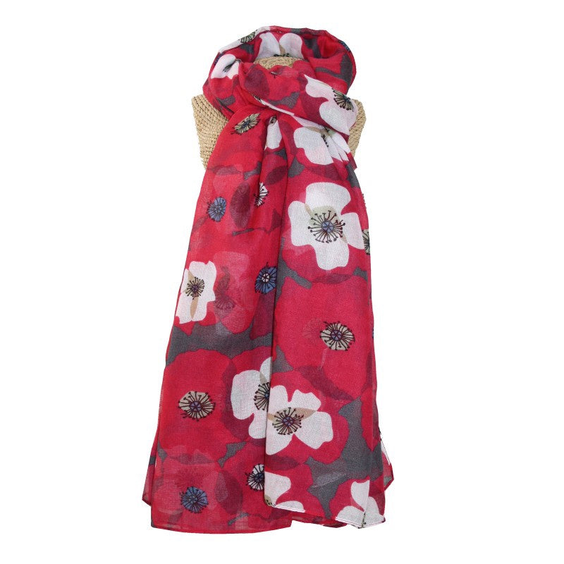 Lua Retro Poppies Scarf in Fuchsia
