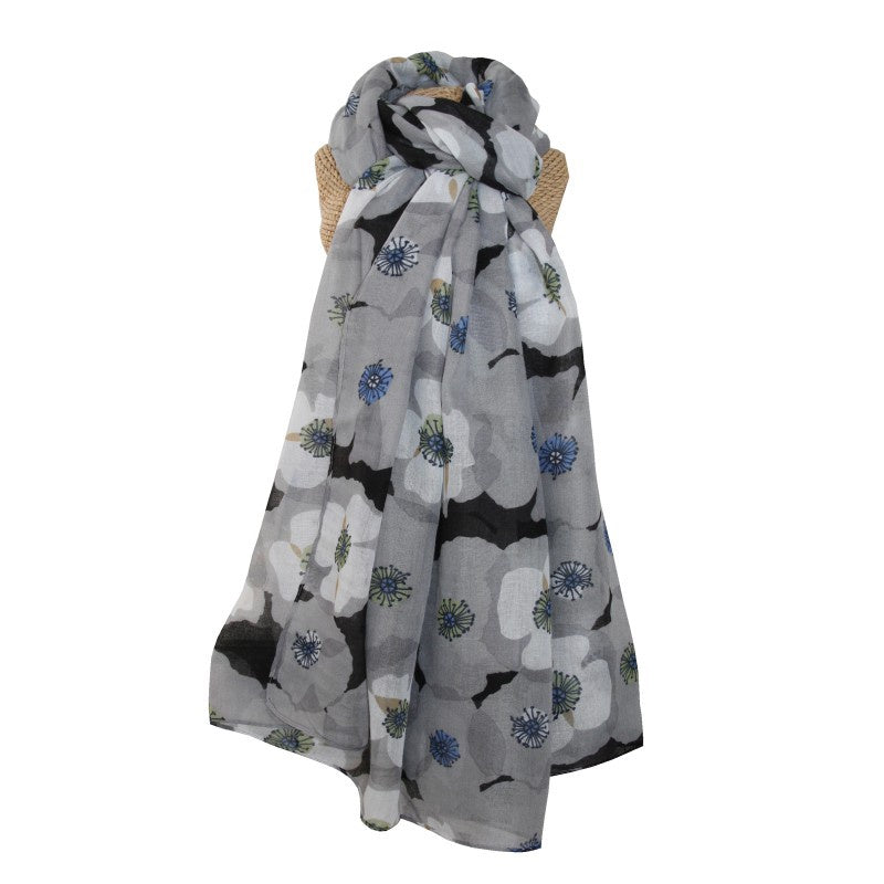 Lua Retro Poppies Scarf in Grey