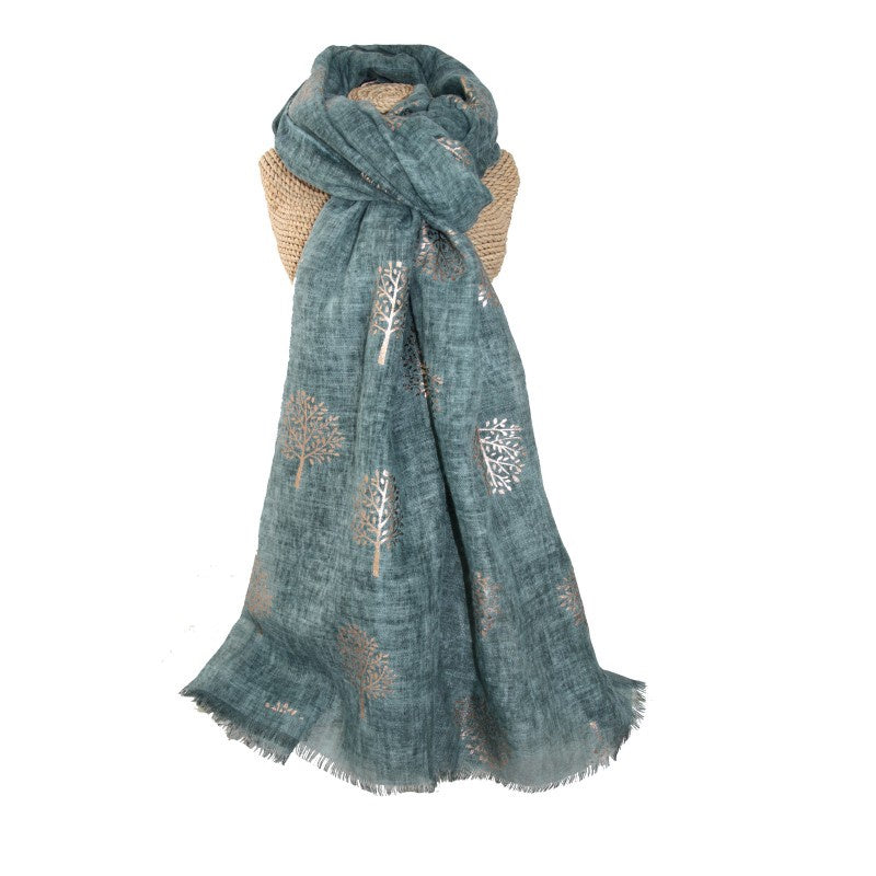 Lua Rose Gold Mulberry Foil Trees Scarf in Teal Green