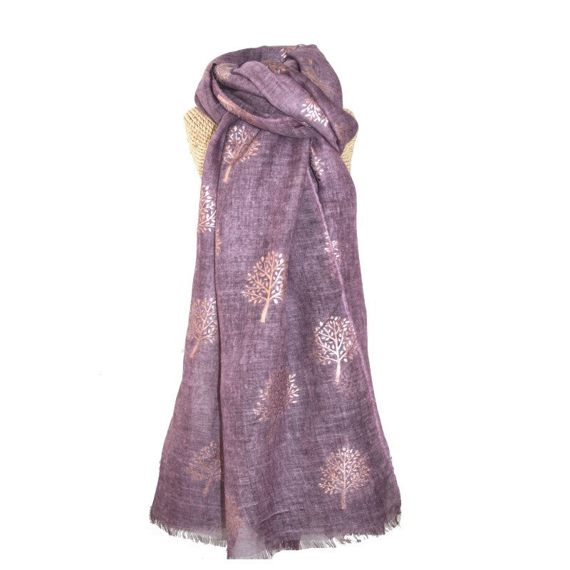 Lua Rose Gold Mulberry Foil Trees Scarf in Plum