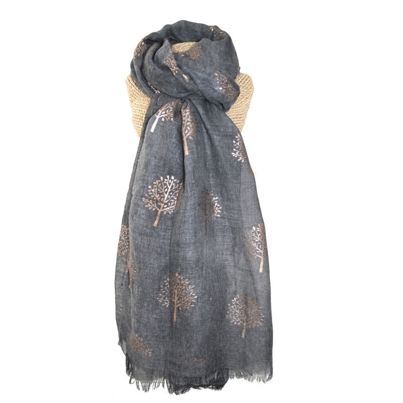 Lua Rose Gold Mulberry Foil Trees Scarf in Dark Grey
