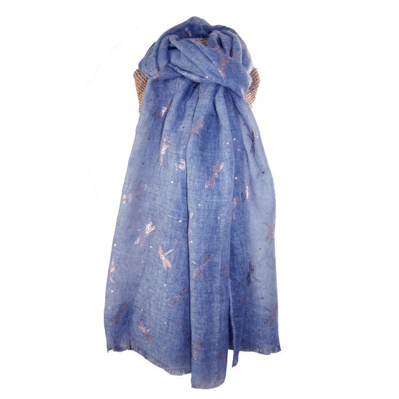Lua Rose Gold Dragonflies Scarf in Blue