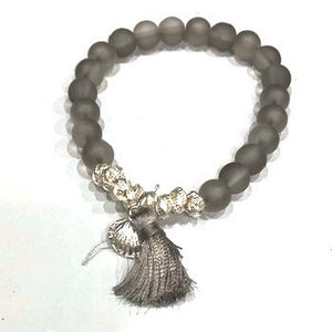Eliza Gracious Grey Beaded Bracelet with Tassel & Charm