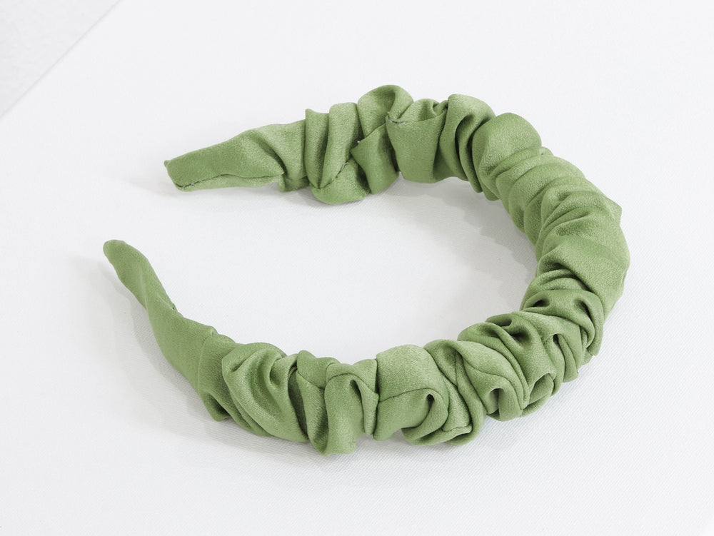 Big Metal London Nicollette Satin Plaited Headband Green